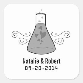Gray Sweet Chemistry Wedding Stickers