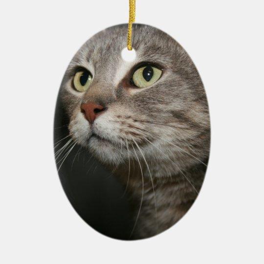 GRAY TABBY CAT ORNAMENT