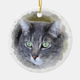gray tabby christmas ornament