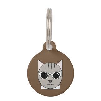 Gray Tabby in White Cat's-Eye Sunglasses Cat Tag