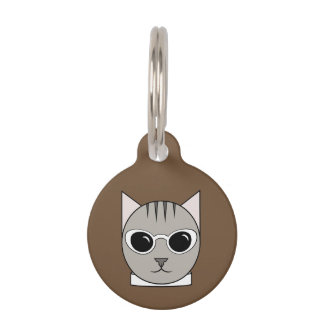 Gray Tabby in White Cat's-Eye Sunglasses Cat Tag Pet Tag