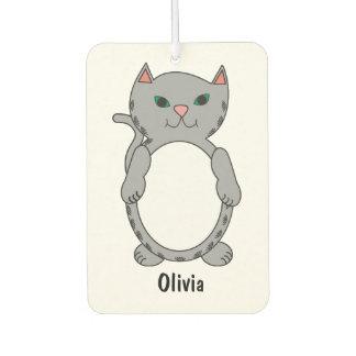 Gray Tabby Kitty Cat Feline Personalize Car Air Freshener