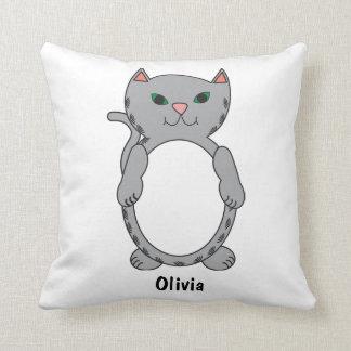 Gray Tabby Kitty Cat Kitten Personalize Cushion