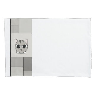 Gray Tabby Pillowcase with Gray Rectangles