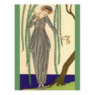 Gray Taffeta Gown George Barbier Postcard