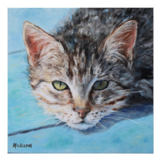 Gray Tan Tabby Cat Portrait Poster