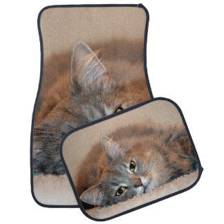 Gray, Tan, White Long-Haired Cat by Shirley Taylor Car Mat
