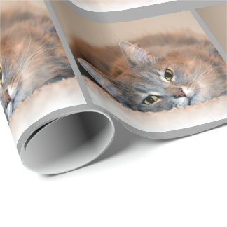 Gray, Tan, White Long-Haired Cat by Shirley Taylor Wrapping Paper