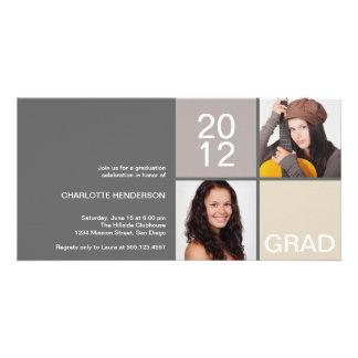 Gray taupe modern block class of grad announcement card