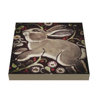 Gray Taupe Rabbit Berries Christmas Canvas Art