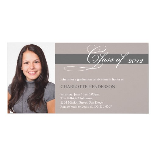 Gray taupe script class of graduation announcement custom photo card