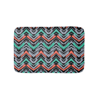 Gray, Teal, And Coral Hand Drawn Chevron Pattern Bath Mat