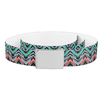 Gray, Teal, And Coral Hand Drawn Chevron Pattern Belt
