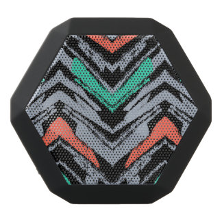 Gray, Teal, And Coral Hand Drawn Chevron Pattern Black Bluetooth Speaker