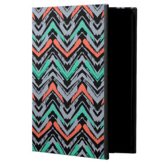 Gray, Teal, And Coral Hand Drawn Chevron Pattern iPad Air Cover