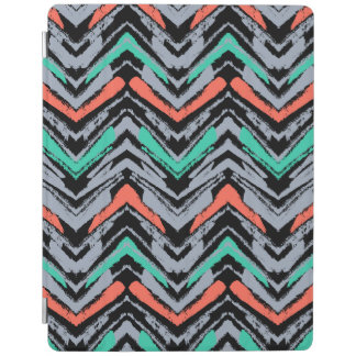 Gray, Teal, And Coral Hand Drawn Chevron Pattern iPad Cover