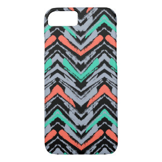 Gray, Teal, And Coral Hand Drawn Chevron Pattern iPhone 8/7 Case