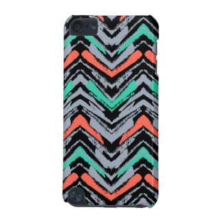 Gray, Teal, And Coral Hand Drawn Chevron Pattern iPod Touch 5G Case