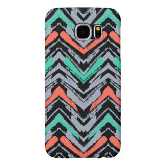 Gray, Teal, And Coral Hand Drawn Chevron Pattern Samsung Galaxy S6 Cases
