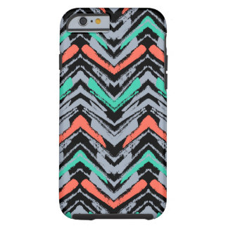 Gray, Teal, And Coral Hand Drawn Chevron Pattern Tough iPhone 6 Case