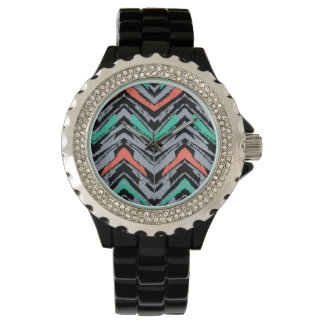 Gray, Teal, And Coral Hand Drawn Chevron Pattern Watches