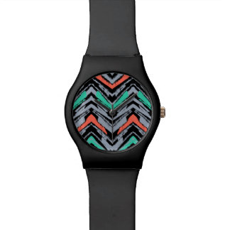 Gray, Teal, And Coral Hand Drawn Chevron Pattern Wrist Watch