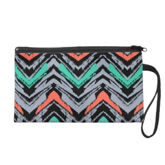 Gray, Teal, And Coral Hand Drawn Chevron Pattern Wristlet Purse