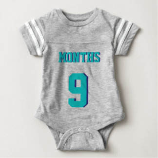 Gray & Teal Baby | Sports Jersey Design Baby Bodysuit