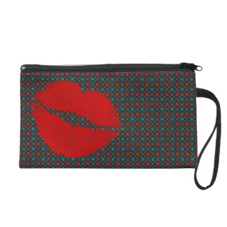 Gray Teal Blue Red Lip Wristlet Purse