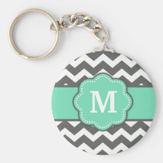 Gray Teal Chevron Monogram Key Chain
