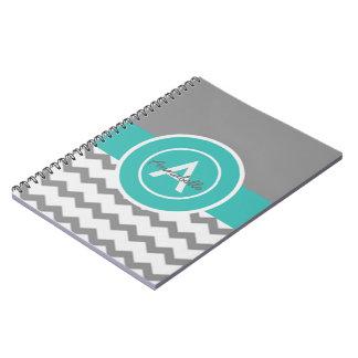 Gray Teal Chevron Notebook