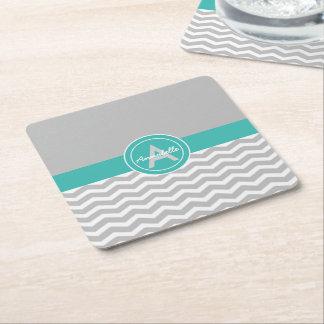 Gray Teal Chevron Square Paper Coaster