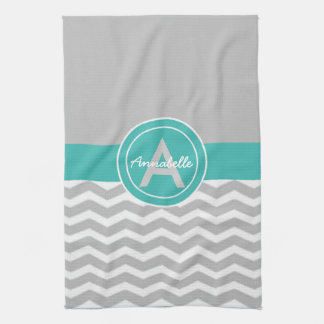 Gray Teal Chevron Tea Towel