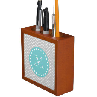 Gray & Teal Modern Chevron Custom Monogram Desk Organiser