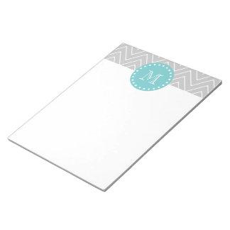 Gray & Teal Modern Chevron Custom Monogram Notepad