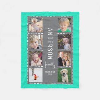Gray & Teal Photo Collage Family Name Fleece Blanket