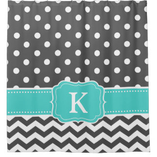 Gray Teal Polka Dots Chevron Monogram Initials Shower Curtain