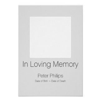 Gray Template Funeral Announcement white border