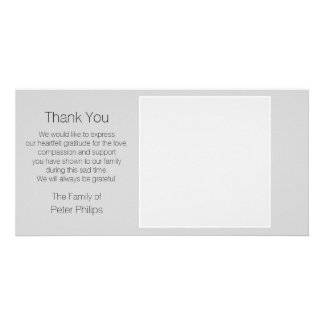 Gray Template Sympathy Thank You + white border Personalised Photo Card
