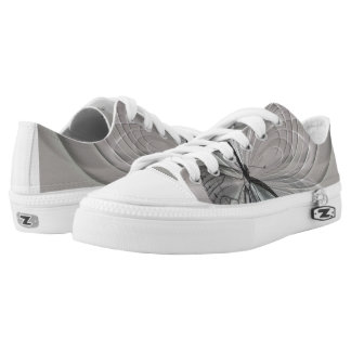 Gray Tennis Shoes with Butterfly