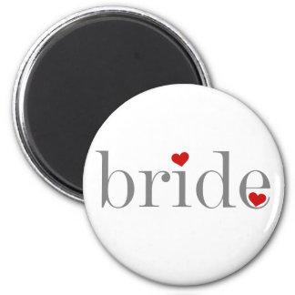 Gray Text Bride 6 Cm Round Magnet