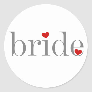 Gray Text Bride Classic Round Sticker