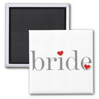 Gray Text Bride Square Magnet