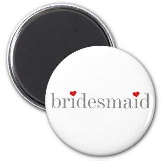 Gray Text Bridesmaid 6 Cm Round Magnet