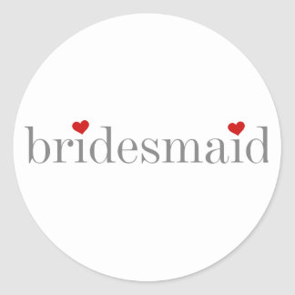 Gray Text Bridesmaid Classic Round Sticker