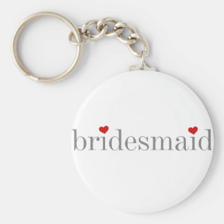 Gray Text Bridesmaid Key Ring