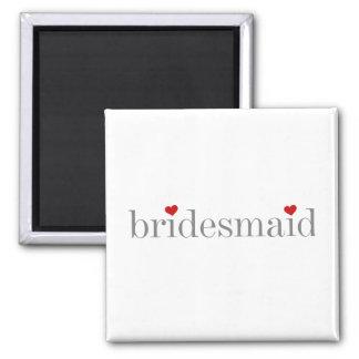 Gray Text Bridesmaid Square Magnet