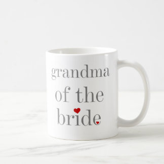 Gray Text Grandma of Bride Basic White Mug