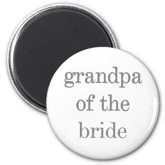 Gray Text Grandpa of Bride 6 Cm Round Magnet