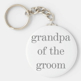Gray Text Grandpa of Groom Key Chain